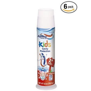 海淘:美国亚马逊 Aquafresh 家护 2岁以上儿童果味牙膏 130g*6支