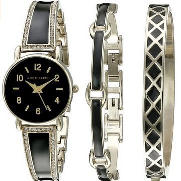 海淘:美国亚马逊 Anne Klein 安妮克莱因 2052BKST Swarovski 女款手镯式腕表